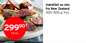 Indrefilet av lam fra New Zealand 299,90 per kilo