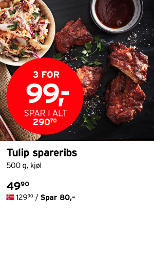 Tulip spareribs 3 for 99,- spar i alt 290,70