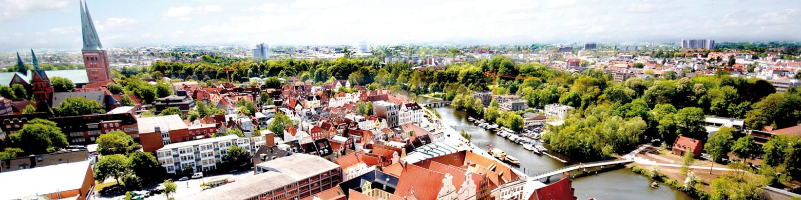 Toppbilde oversikt over Lubeck by