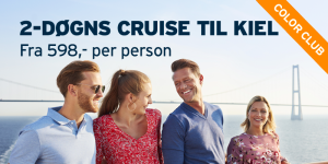 2-døgns Cruise til Kiel fra 598,- for Color Club-medlemmer